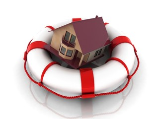 private house in rescue circle, insurance concept