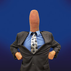 Mr thumb businessman blue