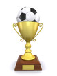 trophy and a soccer ball