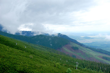Mountains and funicular, High Tatras, Slovakia