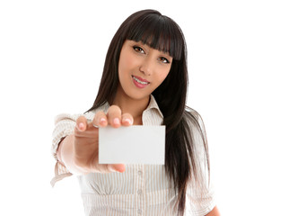 Girl holding club card, business card or other