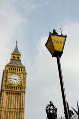 Big Ben with taxi sign