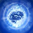 brain & blue bokeh light background