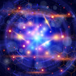 atoms, lights & chemical formulas - technology background
