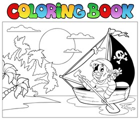Coloring book with pirate in boat