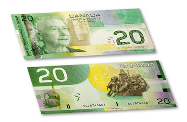 $20 Canadian Banknote. With clipping path.