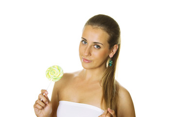 Attractive girl with a lollipop