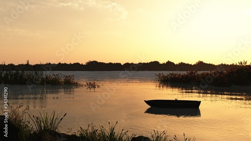 Reed Marsh with rowing boat at Dawn