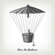 Engraving vintage Hot air Balloon.