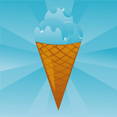 glossy blue ice-cream background