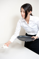 a waitress serving
