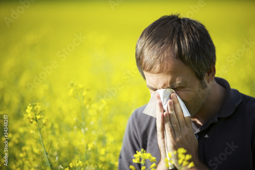 Man blowing his nose in canola field