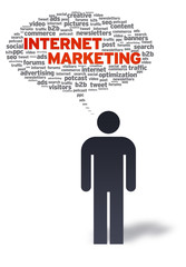 Paper Man with internet marketing Bubble