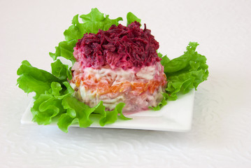 "Traditional russian salad ""Herring under fur coat"""