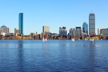Boston skyline from Cambridge over the Charles River, USA