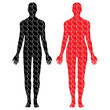 male and female puzzle bodies vector