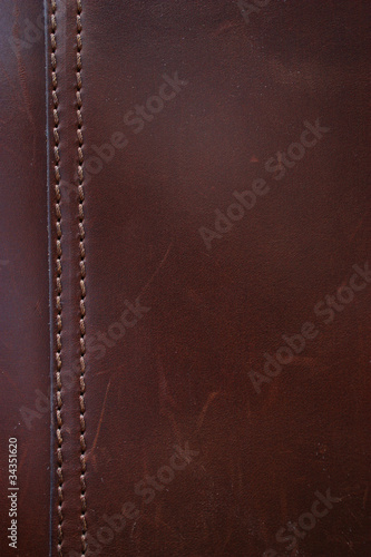 Fotobehang Leder Dark Brown Leather Stitching