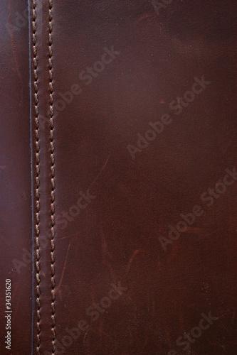 Dark Brown Leather Stitching