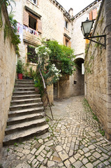 Courtyard with stairs in Mediterranean town