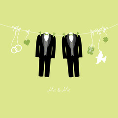 Hanging Wedding Symbols Mr. & Mr. Gay Green