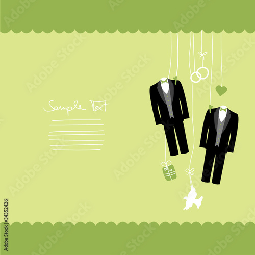 Hanging Wedding Symbols Mr. & Mr. Border Gay Green