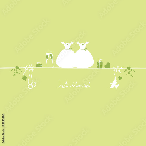 Wedding Symbols Just Married Gay Green