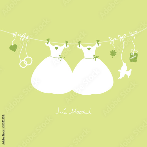 Hanging Wedding Symbols Just Married Gay Green