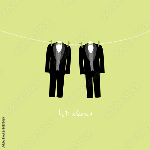 Hanging Grooms Just Married Gay Green