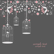 vintage bird cages design with flowers - 34352642