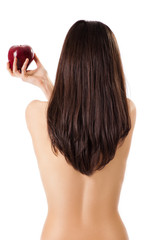 Topless female back red apple