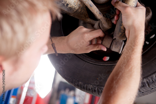 Mechanic Inspecting Shock Absorber