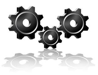 three black gears