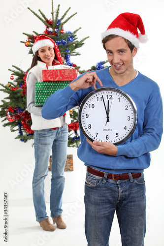 Couple eagerly waiting for Christmas Day