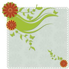 Papel convite com flores.