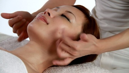 girl has facial massage