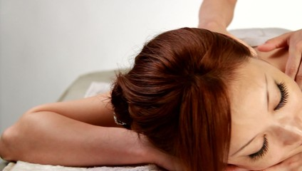 Girl has back massage