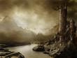 Krajobraz fantasy z zamkiem i smokiem - 34361000