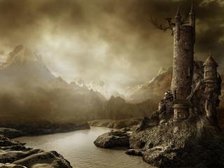 Krajobraz fantasy z zamkiem i smokiem