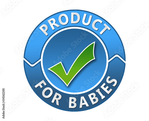 "Blue label ""product for babies"""