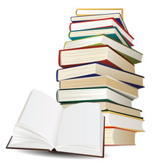stack of books and opened book with blank pages vector