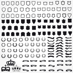 Vector set of heraldic symbols ribbons shields crowns