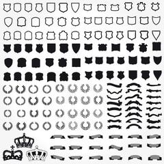 Vector set of heraldic symbols ribbons shields crowns