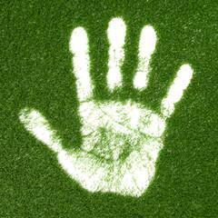 Grass hand print