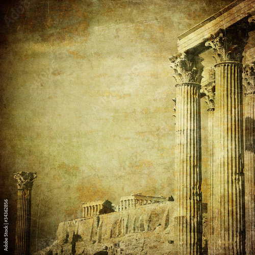 Fotobehang Athene Vintage image of greek columns, Acropolis, Athens, Greece