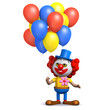 3d Clown has some colourful balloons