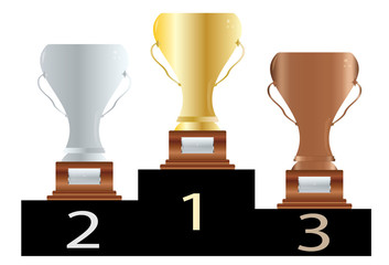 Podium de trofeos