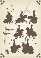 Knight horseman and vintage elements vector