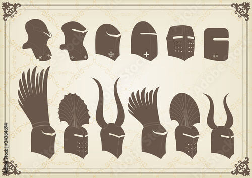 Vintage medieval knight helmets and elements vector