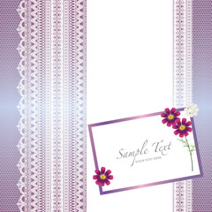 card with lace background and cosmos