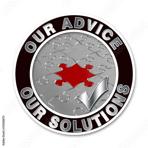 "Black and grey label ""Our advice, our solutions"""